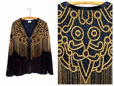 FRINGE Beaded Vintage Blazer // Black and Gold by braxae on Etsy
