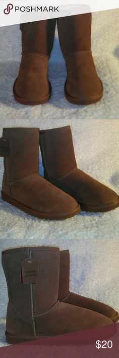 NEW Suede Leather Tan ugg-style Boots Ladies 11 Just in time for the cold