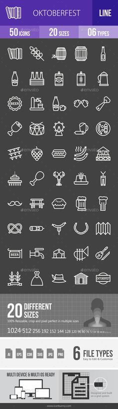 Oktoberfest Line Inverted Icons