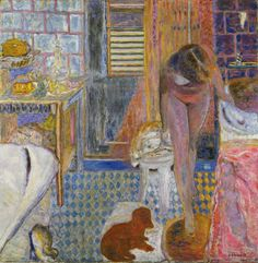 """I've been meaning to pin a Bonnard, but it's nearly impossible to pick just one! I went with this version of """"The Bathroom"""" since it contains many of the artist's signature themes, including Marthe, Pouce, dazzling patterns, haphazard perspectives, a table, a still life, and an opening to some distant and ill-defined space."""