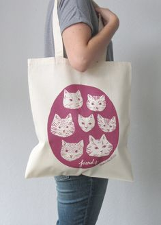Cat friends tote bag by stephaniecoleDESIGN on Etsy like the size and coverage of the design