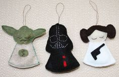 DIY Star Wars Christmas Ornaments Haan Lohmeyer Sheren -- think we could do this? Star Wars Christmas Ornaments, Christmas Angel Decorations, Felt Decorations, Christmas Angels, Christmas Crafts, Disney Felt Ornaments, Christmas Buttons, Christmas Poinsettia, Christmas Star