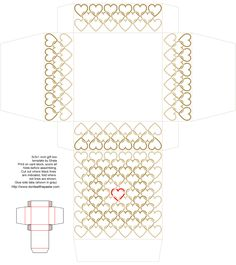 inch printable linked hearts box in tan and red- also available in a different size and in blue and orange Box Template Printable, Templates, Love Coloring Pages, Favor Boxes, Gift Boxes, Box Patterns, Card Stock, Craft Projects, Gifts