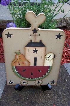Primitive Summer Watermelon Wood Plaque