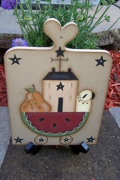 Primitive Summer Watermelon Wood Plaque