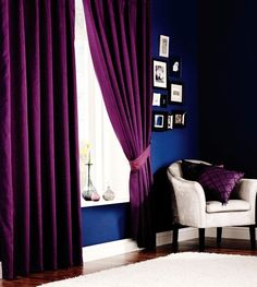 Superb Quality 46 X 72 Purple Faux Silk Ring Top Fully Lined Curtains *Tur*