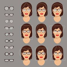 Stock vector illustration of glasses shapes for different womens., - Stock vector illustration of glasses shapes for different womens. Face Shape Sunglasses, Glasses For Your Face Shape, Diamond Face Shape, Oval Diamond, Circle Face, Best Eyeglasses, Square Faces, Long Faces, Eye Shapes