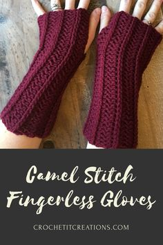 Crochet Hoodies Camel Stitch Fingerless Gloves Crochet Pattern by Crochet It Creations - Make these beautiful textured crochet fingerless gloves with this free pattern by Crochet It Creations. Comes in adult size. Crochet Pattern Free, Crochet Fingerless Gloves Free Pattern, Fingerless Mitts, Crochet Mittens, Mittens Pattern, Knit Crochet, Crochet Hats, Washcloth Crochet, Ravelry Crochet