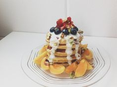 healthy single serving fluffy pancakes with vanilla cream glaze! (or try topped with melted almond butter, YUM)!