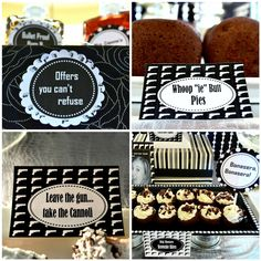 Gangster Anniversary Party {Adult Party Ideas} This amazing gangster themed party was inspired from the movie 'The Godfather'. Prohibition Party, Speakeasy Party, Gatsby Party, 40th Birthday Parties, Anniversary Parties, 25th Birthday, Movie Night Party, Party Time, Mafia Party