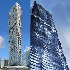 Aqua Tower Hotel and Residential in Chicago by Studio Gang.            The result of these different length of terraces is a highly sculptural building that transforms into a slender rectangle from further away.