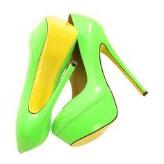 Pisando fuerte: los zapatos flúor inundan las calles ❤ liked on Polyvore featuring shoes, pumps, heels, обувь, zapatos, chaussures and heel pump