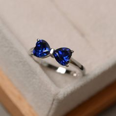 Lab sapphire ring double stone sapphire engagement by LuoJewelry