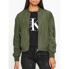 Calvin Klein Ophira Lightly Padded Bomber Jacket ($200) ❤ liked on Polyvore featuring outerwear, jackets, khaki, bomber style jacket, green flight jacket, blouson jacket, green bomber jacket and khaki jacket