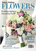 Bridal bouquet by Chanele Rose flowers on the cover of Modern Wedding flowers annual shot by Jim Smith