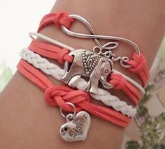 Infinity love bracelet Sister bracelet Elephant bracelet, Antique Silver Charm, Pale red / white wax suede and braided leather, Sister gift
