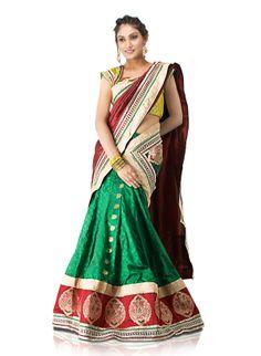 green-upada-silk-pavada-davani-styled-lehenga-saree-with-hand-embroidery-and-gota-work.jpg (1200×1640)