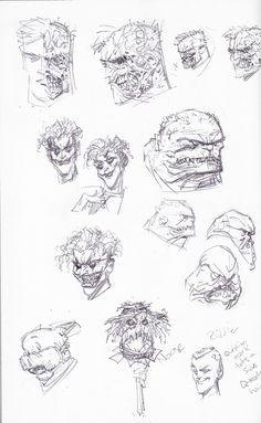 Greg Capullo - Batman New 52 character design sketches (Joker, Two Face, Clayface, etc)