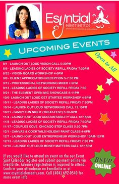 Our fall line up of events! Join Us!