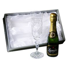 Personalised Crystal Flute and Miniature Champagne Set - Free Gift Box - Birthday, Congratulations @ £39.99