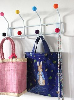 This is a bright candy ball topped hook rail. This vibrant hook rail is great for a child's bedroom to hang all those things you don't know what to do with! Childrens Bedroom Storage, Kids Bedroom, Bedroom Ideas, Door Hooks, Wall Hooks, Kids Room Accessories, Bright Walls, Toy Rooms, Kids Rooms