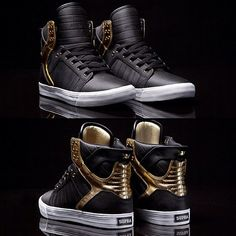 SUPRA black and gold Skytop,   sneakers, kicks, sneaker lab, sneaker cleaner