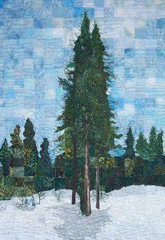Winter Evergreens quilt by Pat Durbin Landscape Quilts, Landscape Art, Tree Quilt, Nature Scenes, Textile Art, Evergreen, Art Quilting, Gallery, Winter