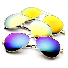 Limited Edition Zerouv Full Gold Frame With Revo Mirrored Lens 1486 Sunglasses [3 Pack] from zeroUV