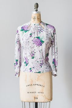 vintage 1930s lilac print long sleeve blouse