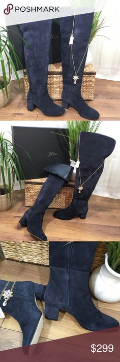 NEW JCrew Navy Suede Over the Knee Boots  NWT,  and box, J Crew Over the Knee Boots, Navy blue Suede with Blue Leather Lining, 2 1/4 Heel. SOLD OUT EVERYWHERE. I received as a Christmas gift but I'm 5' tall and these were too high. ☹️Never Worn. NO Lowballs please J. Crew Shoes Over the Knee Boots