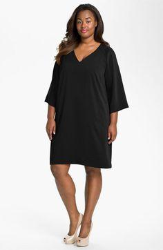 Donna Ricco V-Neck Shift Dress (Plus) | Nordstrom