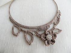 crochet necklace, Modern jewelry, Fashion jewelry, christmas gifts. $40.00, via Etsy.