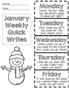 January Quick Writes - one sheet for the week, fun prompts! #quick writes