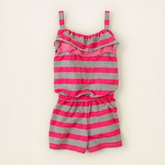 Girls June Clothing Trend Guide | Striped Pink Romper | The Childrens Place #romper #striped