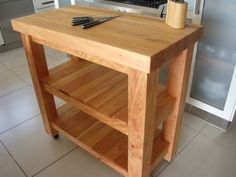 Large Handcrafted 2 Shelf Macrocarpa Butchers Block : Handmade in NZ