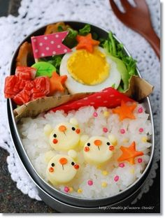 Cute cheese polar bear friends bento box
