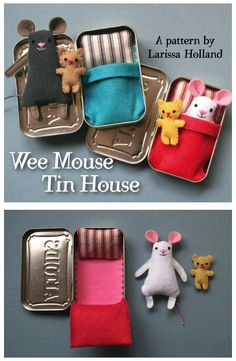 I know my three year old would love this little mouse with his altoids tin bed.  How adoable!