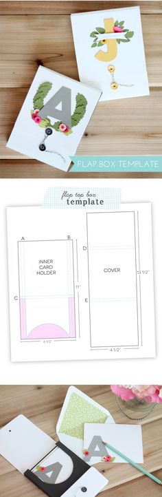 Flip-top card box scoring instructions (and die cut monograms) - by Amber
