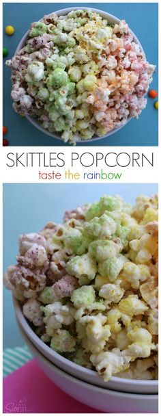 Skittles Popcorn is so easy to make & fun to eat. This enjoyable fruit flavored popcorn will be a fan favorite. Dunk the rainbow, Taste the rainbow. Popcorn Snacks, Flavored Popcorn, Gourmet Popcorn, Sweet Popcorn Recipes, Candy Popcorn, Popcorn Balls, Pop Popcorn, Party Snacks, Snack Recipes