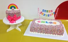 "Rainbow Sprinkle Cakes - 6"" round and 10"" x 15"" sheet cake. Strawberry because it had to be pink. Whipped cream filling and fresh strawberries. Both strawberry cake and buttercream recipes used from http://rosebakes.com/"