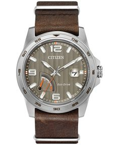 Citizen Men's Eco-Drive Sport Brown Leather Strap Watch 41mm AW7039-01H