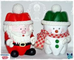 snowman and santa claus made with plastic bottle                                                                                                                                                                                 More