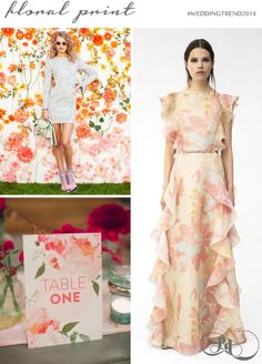 Floral print will be everywhere from your stationery to backdrops, bridesmaid dresses to furniture: #weddingtrend2014. Creative UK event designers and wedding planners Pocketful of Dreams predict the hottest wedding trends for 2014 on Love My Dress Wedding Blog.