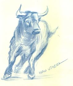 toro en lapices de colores