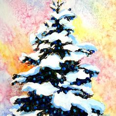 """""""Christmas Tree""""  -watercolor painting of a snowy lit pine tree"""