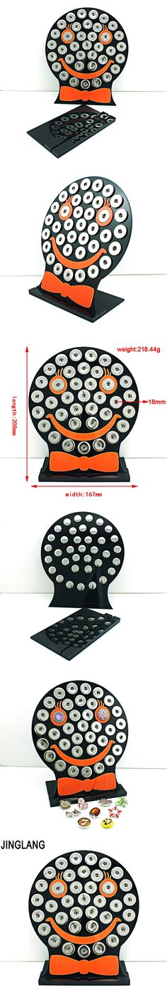 JINGLANG Fashion Jewelry Displays Black Acrylic Smiling Face Interchangeable 18mm Snap Button Displays Stand Case Board