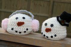 Snowmen Crochet Hats by ScrapmadeCreations