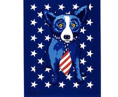 "George Rodrigue Blue Dog ""Star Spangled Blue Dog"" 1996 28 X 21 in Edition Blue Dog Art, Blue Art, Blue Dog Painting, Louisiana Art, Dog Cafe, 3rd Grade Art, Dog Paintings, Acrylic Paintings, Baby Dogs"