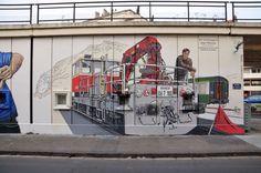 PONT SNCF MARCHE DE L'ESTACADE Grenoble 04 - Peinture,  1200x400 cm ©2016 par Nessé -                                                                                                                                Jean Molina, conducteur de draisines au dépôt de Grenoble.