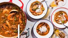 There's no need to travel to Louisiana for great gumbo when you can feed a crowd with this spicy seafood sausage gumbo. Get the complete recipe at Tasting Table.